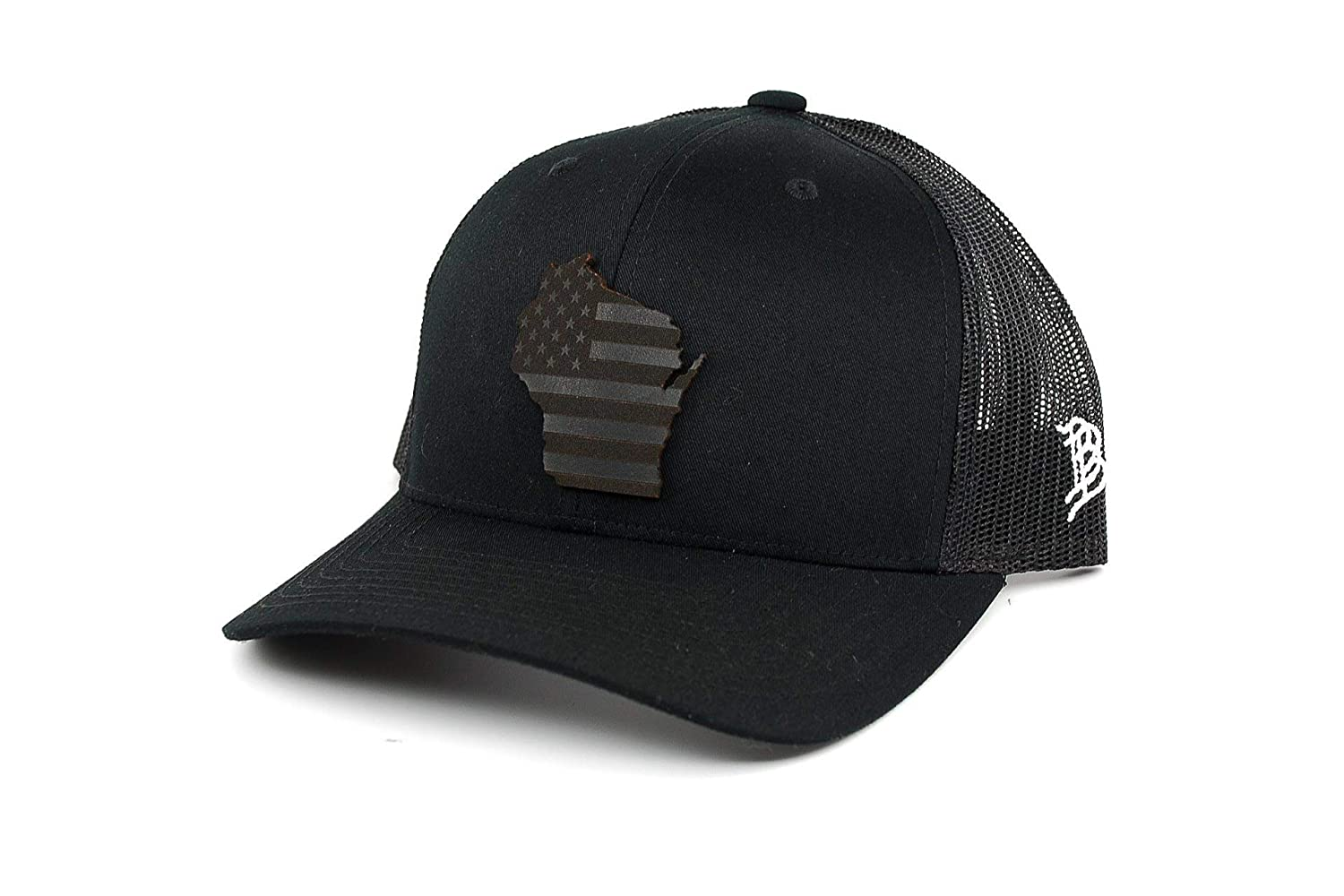 f3570e574fd5a Branded Bills  Midnight Wisconsin Patriot  Black Leather Patch Hat Curved  Trucker - OSFA Black at Amazon Men s Clothing store
