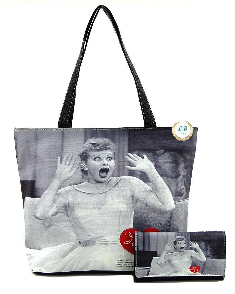 I love Lucy Large Purse and Wallet Set, Tote Style (Black)