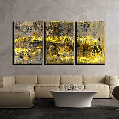 Wall26 3 Piece Canvas Wall Art Brown And Yellow Abstract Art Painting Modern Home Art Stretched And Framed Ready To Hang 16 X24 X3 Panels Posters Prints