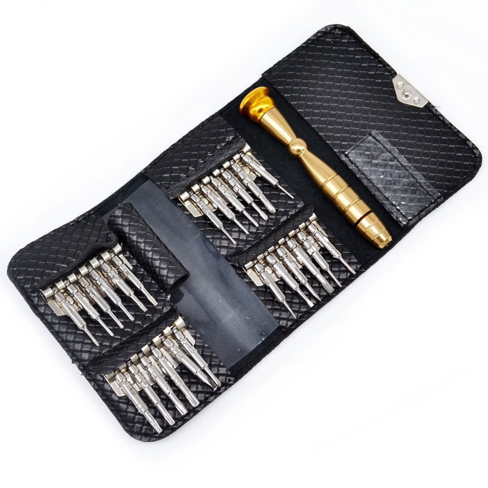 amiciKart® 25 in 1 Precision Screwdriver Set Multi Pocket Repair Tool Kit for Cell Phone Drone Laptop Tablet Computer Desktop MP3 Camera TV and Other Electronic Devices