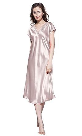 1a3ecabebaaf4f LilySilk Seide Nachtkleider Maulbeerseide V Ausschnitt Nachthemd Damen Lang  22 Momme (XS, Altrosa)