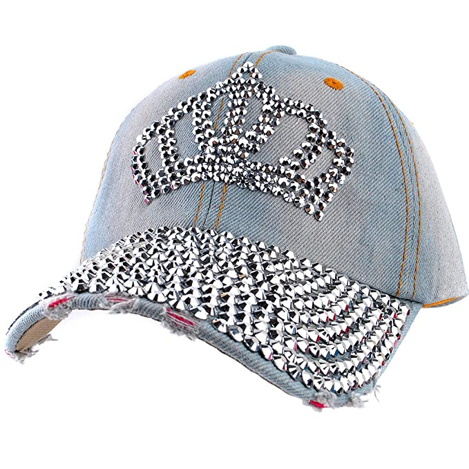 Elonmo Crown Design Womens Cotton Baseball Cap Rhinestone Bling Hats ... 66753cf1091