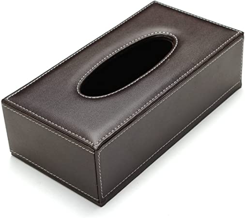 SODIAL Portable Leather Rectangular Tissue Cover Box Holders Case Pumping Paper Hotel Home Car Gift Brown R