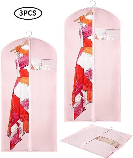 Funda Para Ropa Transpirable Fundas Para Colgar Con Cremallera Completa A Prueba De Polvo Organizador De Almacenamiento Para Traje Vestido Ropa Pantalones Juego De 3 Home Kitchen