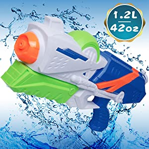 MOZOOSON 1.2L Water Gun for Kids Big Water Guns with Long Range for Kids Boys Squirt Gun Pistol Water Toys UP to 42ft Distance Shooting for Swimming Pool, Beach and Outdoor Summer Fun