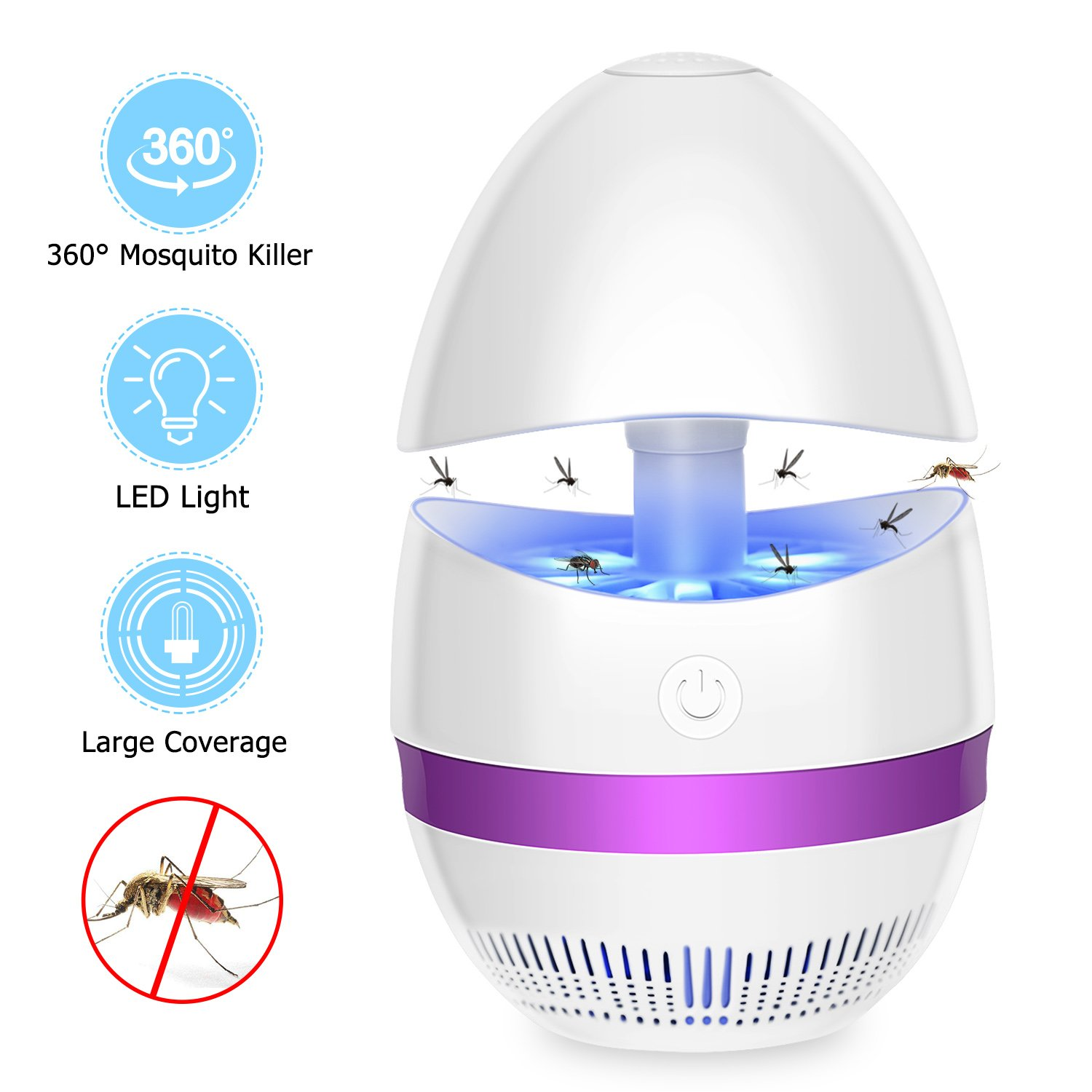 Bug Zapper Indoor Electronic Insect Killer Mosquito Killer Lamp Safe USB Powered Mosquito Zapper with Built in Fan Insect Trap for Indoor Bedroom Kitchen Outdoor Garden Patio Yard Office (Purple)