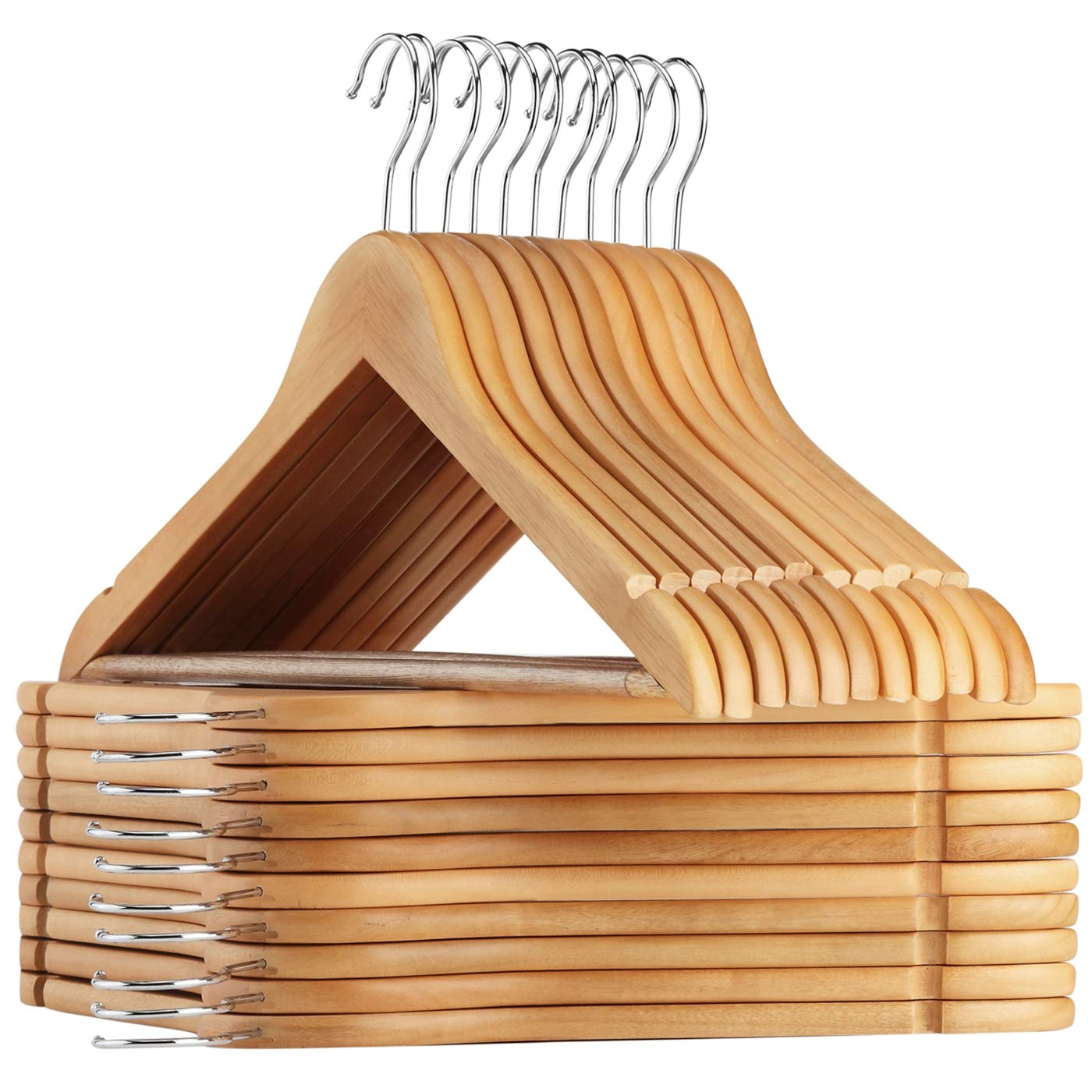 AMKUFO High-Grade Wooden Suit Hangers with Non Slip, 17.5 Inch Premium Solid Wood with 360° Swivel Hook, 24 Free Clothes Hanger Connector Hooks for Space Saving (24 Pack, Natural) 71T-fFXWnbL