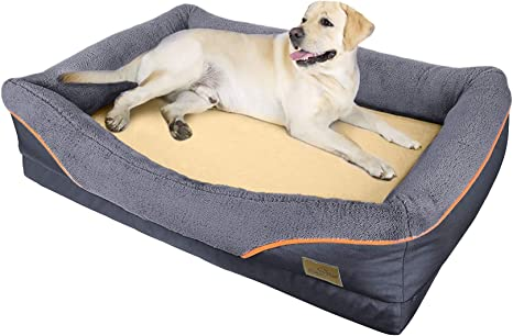 Amazon Com Bingopaw Orthopedic Dog Bed Heavy Duty Pet Foam Dog Couch With Waterproof Liner Removable Cover Washable For Medium Large Dog Poop Bags As Gift Pet Supplies