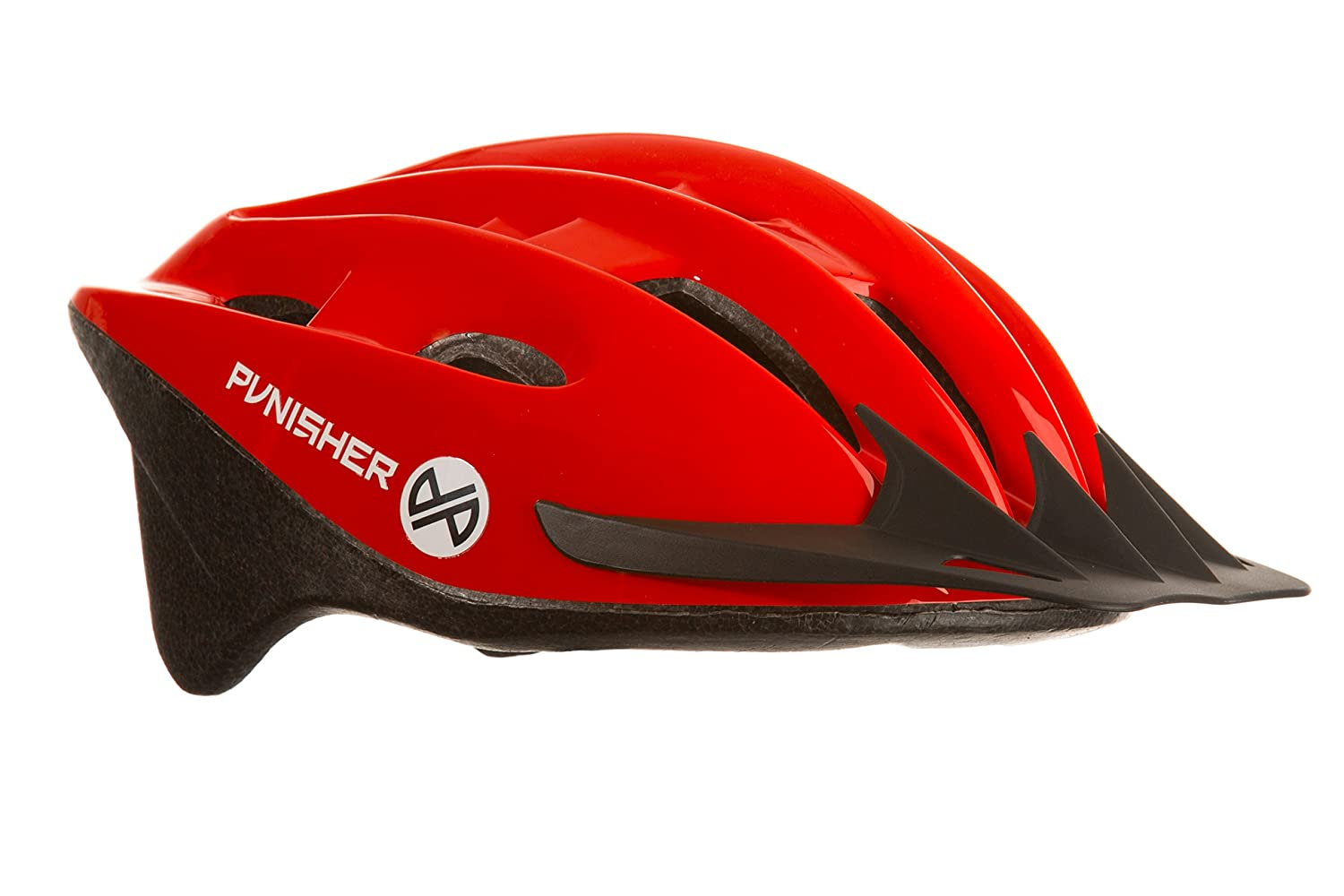 Punisher Skateboards Adult Mens 18-Vent Cycling Helmet with Abs Shell/Detachable Visor, Red 9238