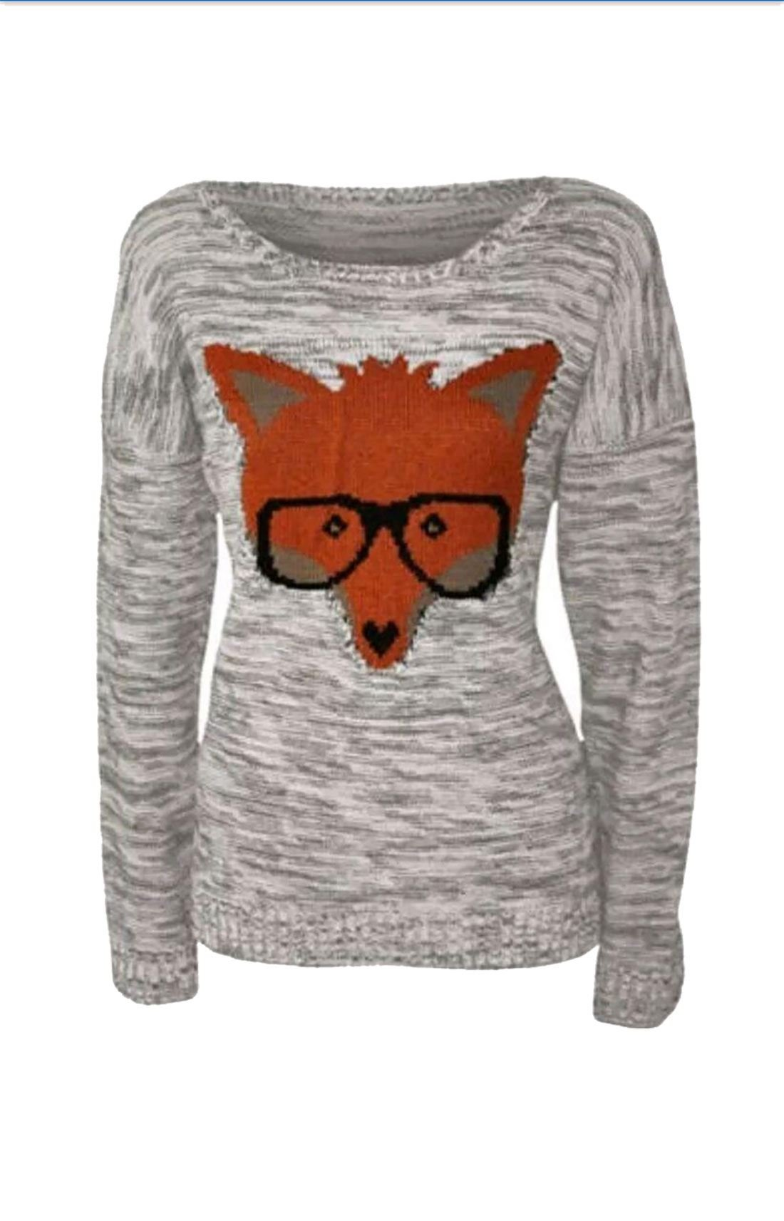 Rimi Hanger Womens Animal Fox Glasses Print Knitted Jumper Ladies Long Sleeve Sweater Top Grey Medium