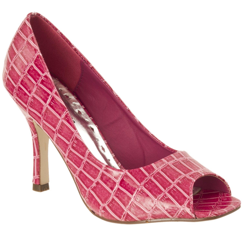 Womens Shelly Croco Print Peep Toe Stilettos