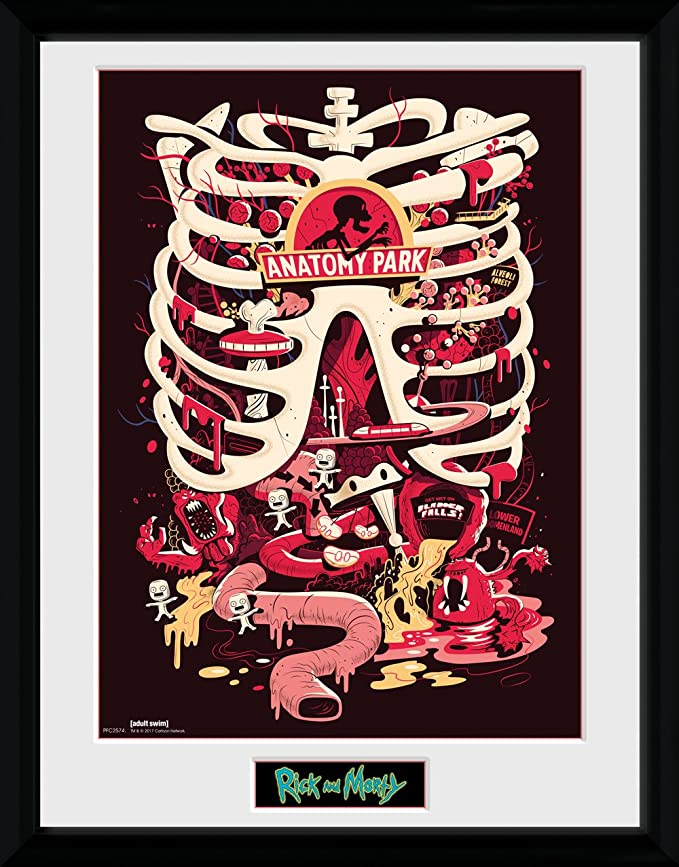 Amazon.de: GB Eye Rick und Morty, Anatomie Park Poster, gerahmt, 30 ...