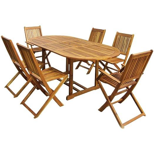 charles bentley garden hardwood oval wooden garden patio furniture set extendable table 6 chairs