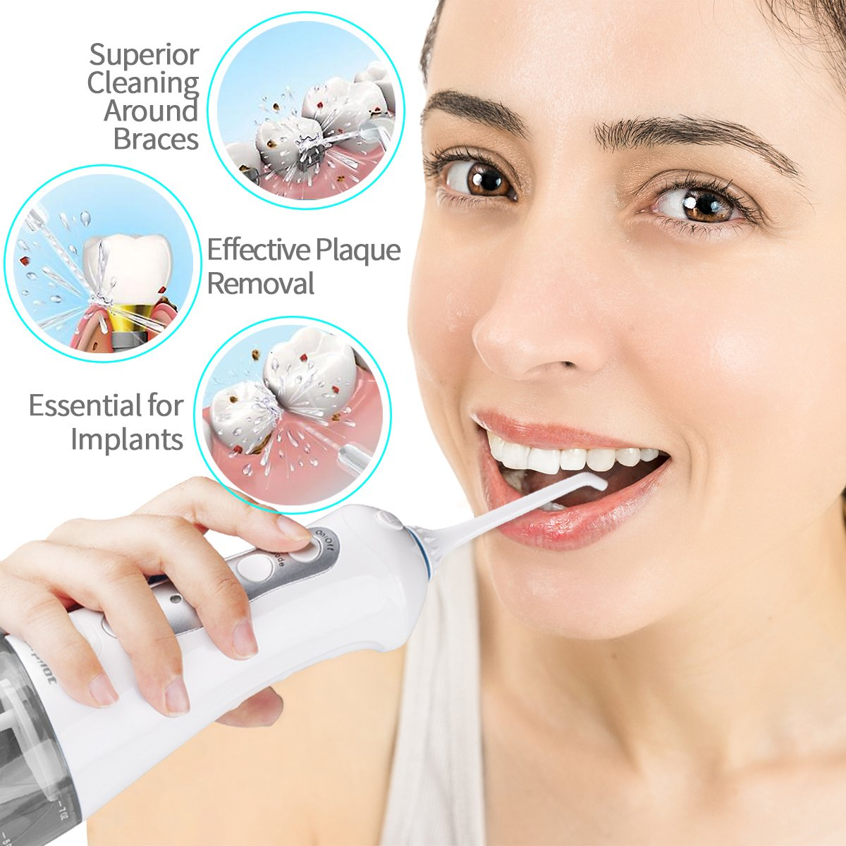 Water Flosser for Teeth,Power Floss Water Jet with 4 Jet Nozzles for Teeth Clean,200ml Detachable Reservoir,IPX7 Waterproof, USB Rechargeable, 3 Water Pressure and FDA Approved - Gray