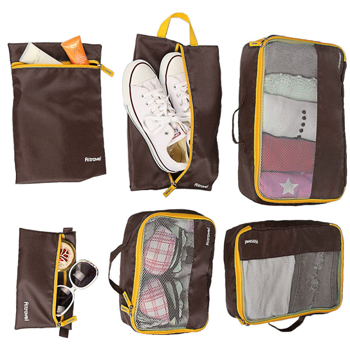 Travel Packing Organizers - Clothes Cubes Shoe Bags Laundry Pouches For Suitcase Luggage, Storage Organizer 6 Set Color Brown