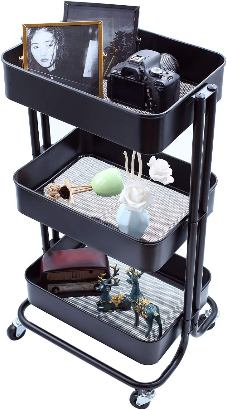 3-Tier Metal Storage Rolling Cart with Utility Mesh Basket and Wheels, Multifunction Heavy Duty Large Shelves, Mobile Organization Service Trolley for Office, Kitchen, Bedroom, Bathroom Black