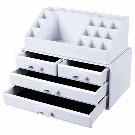 Songmics White Makeup Organiser Acrylic Jewellery Storage Box