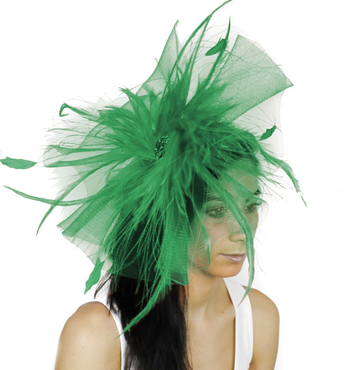 Gorgeous Aneta Large Jade Ascot Derby Fascinator Hat - With Headband