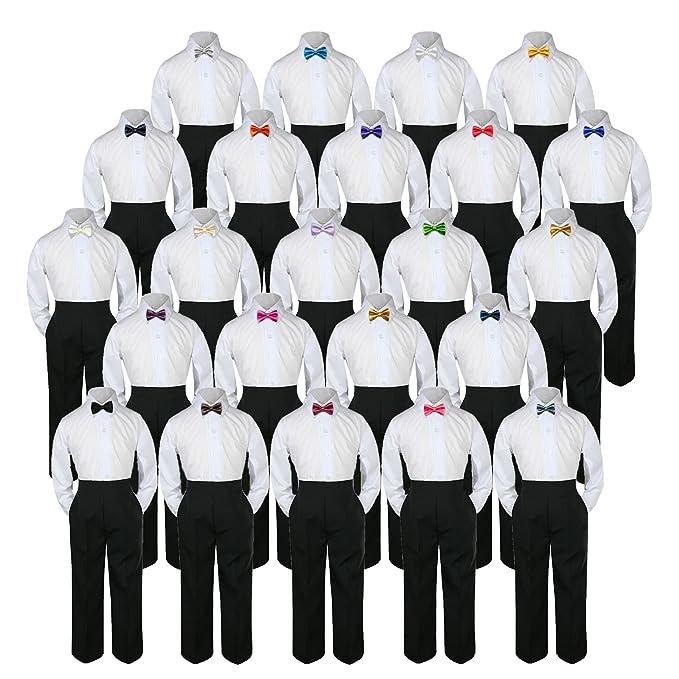 f3c84da16165 Leadertux 3pc Shirt Black Pants Bow Tie Set Baby Toddler Kid Boy Party  Formal Suit Sm