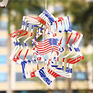Wind Chimes for Fourth of July Stainless Steel Wind Spinner-3D Indoor Outdoor Garden Decoration Independence Day Crafts Ornaments 12Inch 3D American Flag
