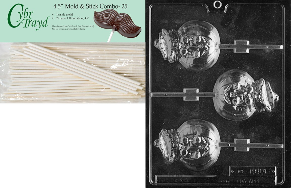 Cybrtrayd 45St25-H029 Cat in Jack O Lantern Lolly Halloween Chocolate Candy Mold with 25 4.5-Inch Lollipop Sticks