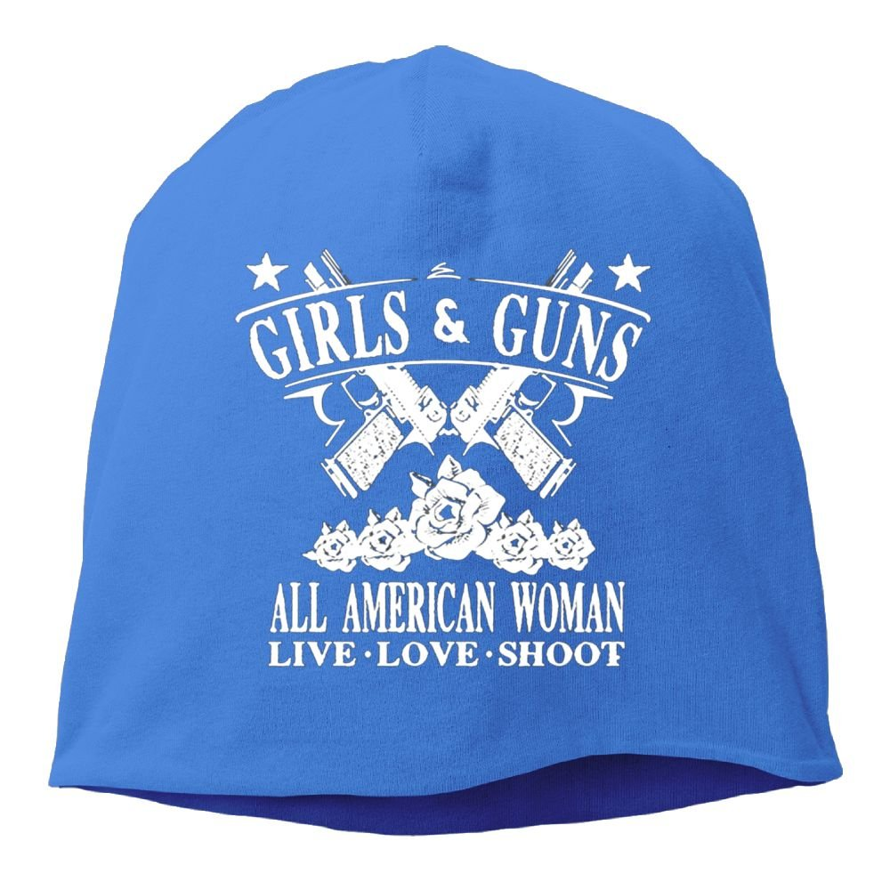 Girls Guns All American Woman Unisex Knitted Cap Hedging Hat For Autumn/Winter