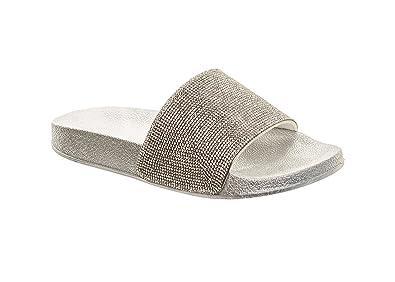b9b65ed91a93 Women s Diamante Sparkle Sliders Comfy Slippers Flip Flops Summer Beach  Pool Sandals