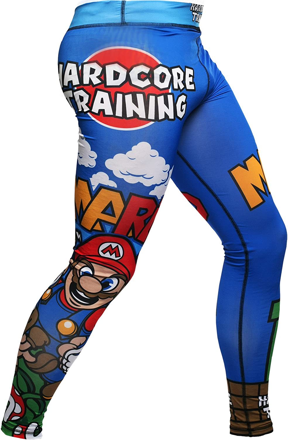 Hardcore Training MMArio Compression Pants Blue Men's Spats Base Layer No Gi Tights MMA BJJ Grappling Fitness Workout Running