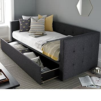Daybed With Trundle Happy Beds Frankie Grey Fabric Modern Day Bed