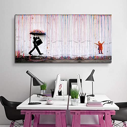 Banksy Canvas Print Colorful Rain Graffiti Wall Art Print Gallery Wrapped Image Mural Artwork