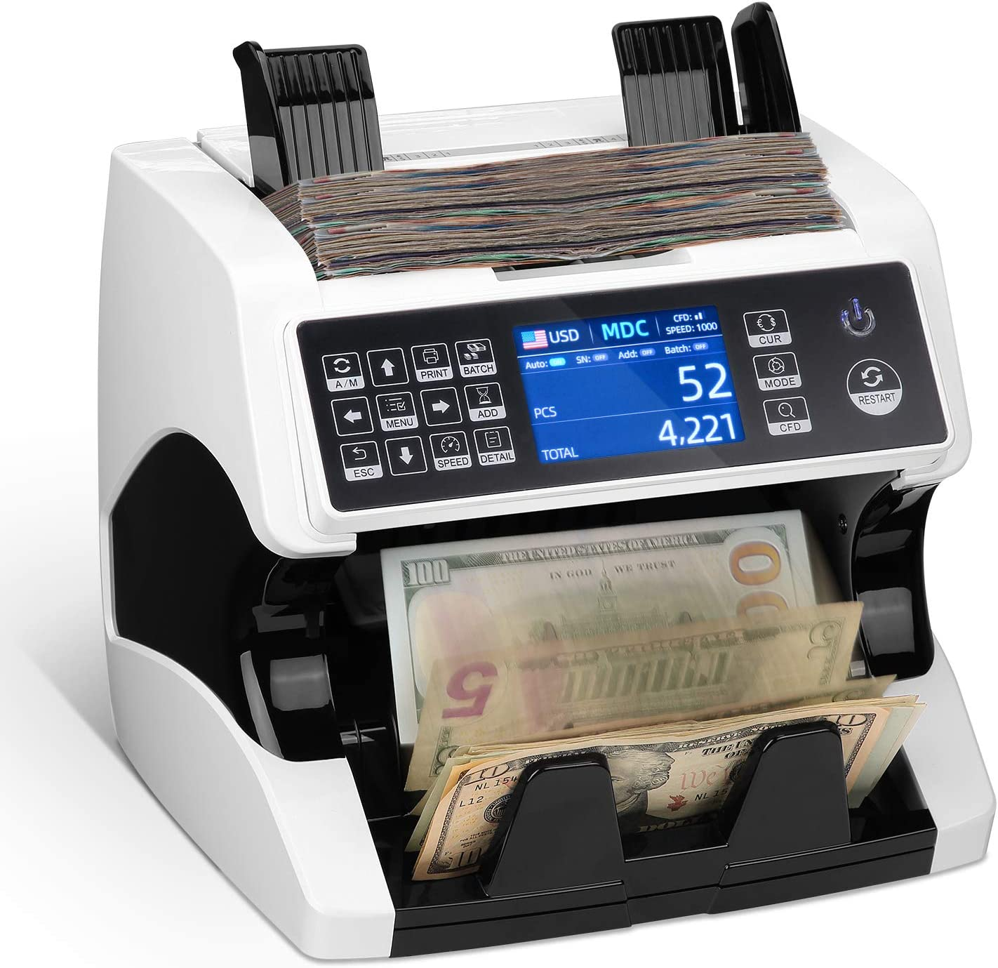 MUNBYN Bill Counter Mixed Denomination, UV/MG/IR/2 CIS Counterfeit Detection Currency Counting Machine with Serial Number Recognition, Cash Counter, Money Detector for Small Business Bank