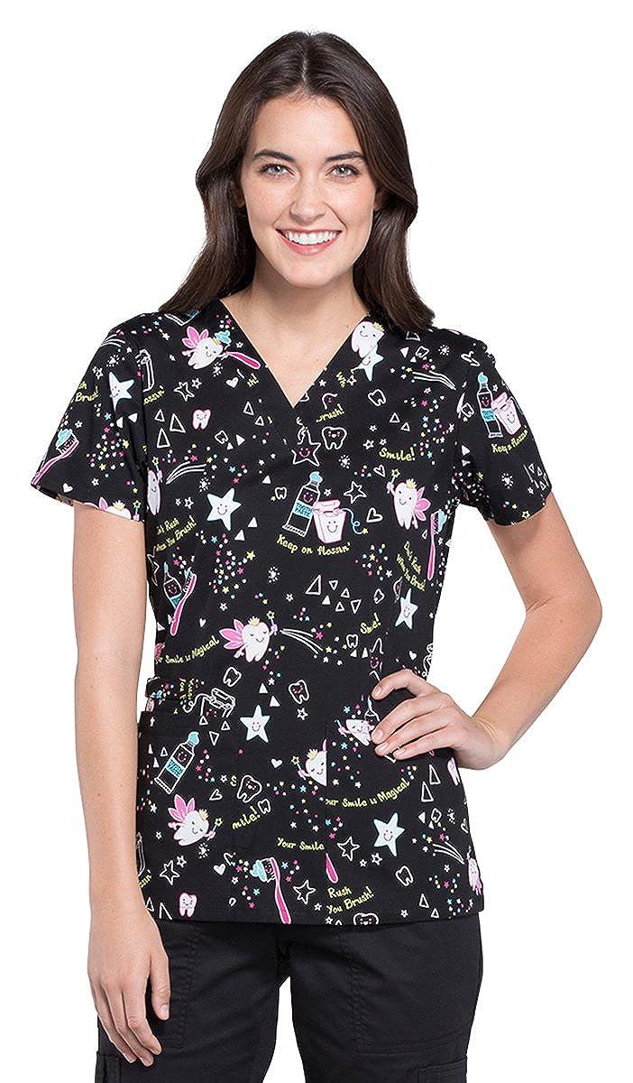 63b8e047763 Amazon.com: Cherokee Fashion Prints Women's Mock Wrap Scrub Top: Clothing