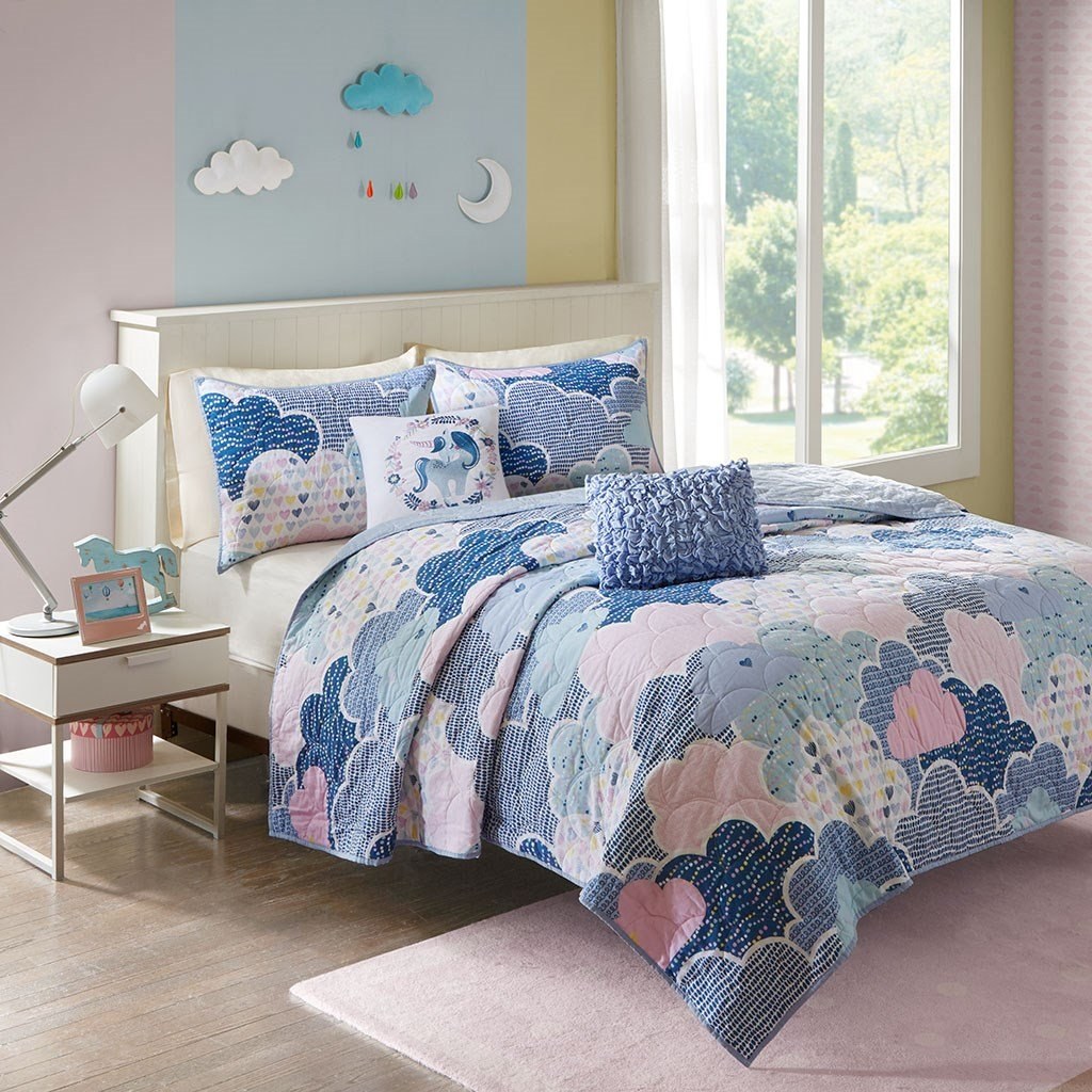 Urban Habitat Kids Cloud Twin/Twin XL Bedding for Girls Quilt Set - Blue, Geometric, Unicorn – 4 Piece Kids Girls Quilts – 100% Cotton Quilt Sets Coverlet