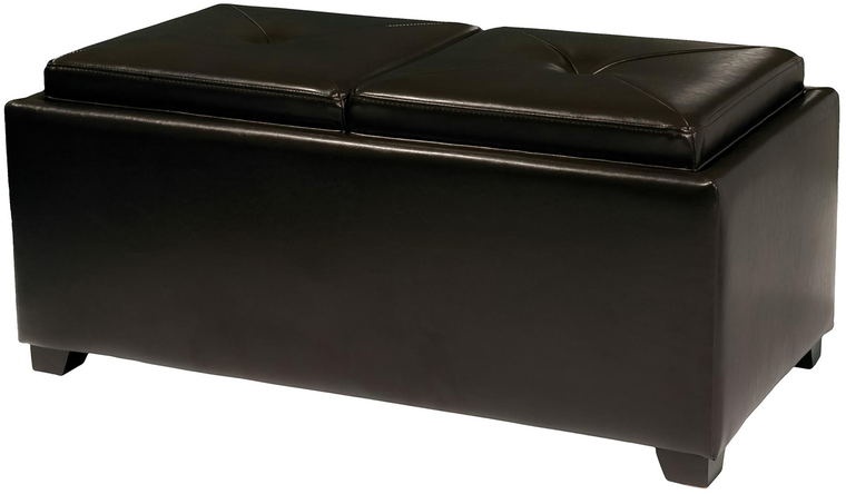 Shop Best Selling Home Decor Maxwell Espresso Rectangle Storage Ottoman at Lowes.com