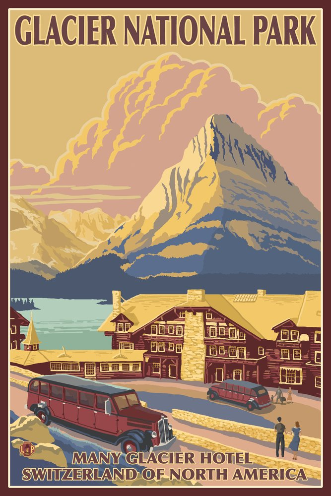 Glacier National Park, Montana - Many Glacier Hotel (12x18 Art Print, Wall Decor Travel Poster)
