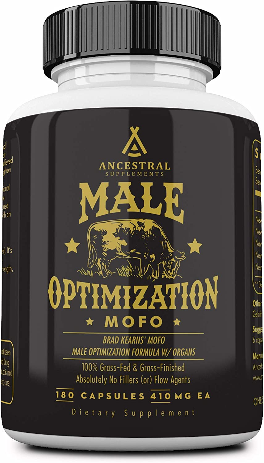 Mofo is Ancestral Supplements Male Optimization Formula W/Organs (Mofo) — Supports Testosterone, Prostate and Heart Health (180 Capsules)