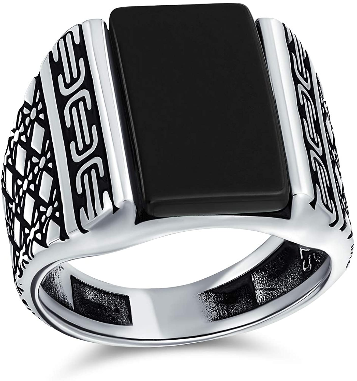 Anillo de grabado con forma de diamante para hombre, plata de ley 925 pesada, hecho a mano en Turquía