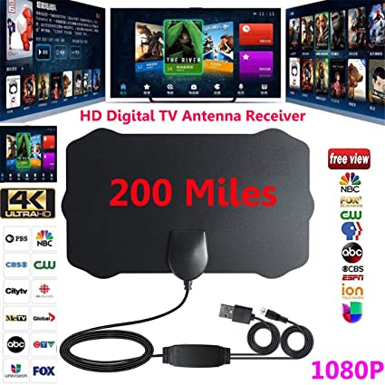 Amazon com: 1080P HD Indoor Antenna TV Digital Skywire 4K Antena