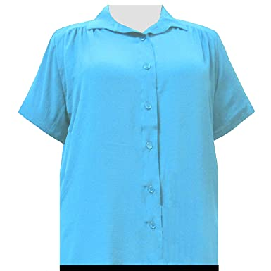 f3b884ae59d Women s Plus Size Short Sleeve Button-Up Solid Blouse Turquoise - 0X. Roll  over image to zoom in. A Personal Touch