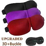 Sleep Mask 3 Pack, Upgrade Version No Pressure Night Eye Mask for Sleeping with Adjustable Buckle, Comfortable & Soft for Women Men, 3D Contoured Blinder & Blindfold for Travel, Black/Purple/Red