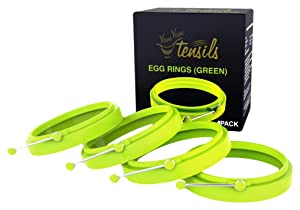New Egg Ring 4-Pk, Silicone Egg Rings Non Stick, Perfect Fried Egg Mold or Pancake Rings, Egg Cooking Rings for Stunning Breakfasts Every Time - no More Eggy Pan Mess. Green 4-pk by YumYum Utensils