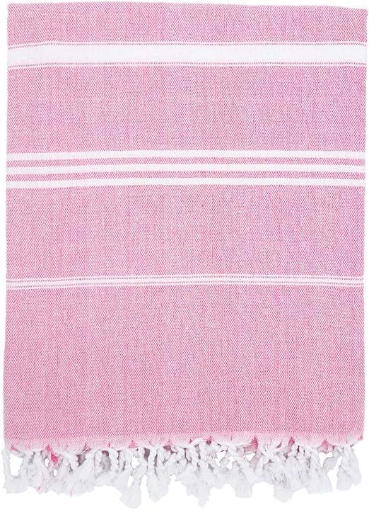 "Yoga Time 100/% Cotton Pestemal Turkish Beach Bath Towel 37/"" X 70/"" Black /& Pink"