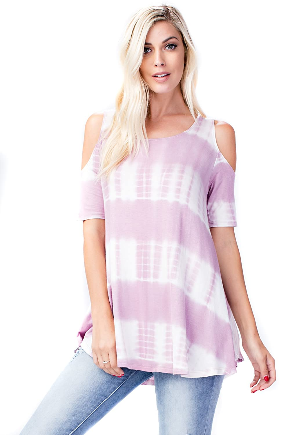 purplec Tiedye Allora Betsy Red Couture Women's Cold Shoulder Soft Knit Tunic Top (S3X)
