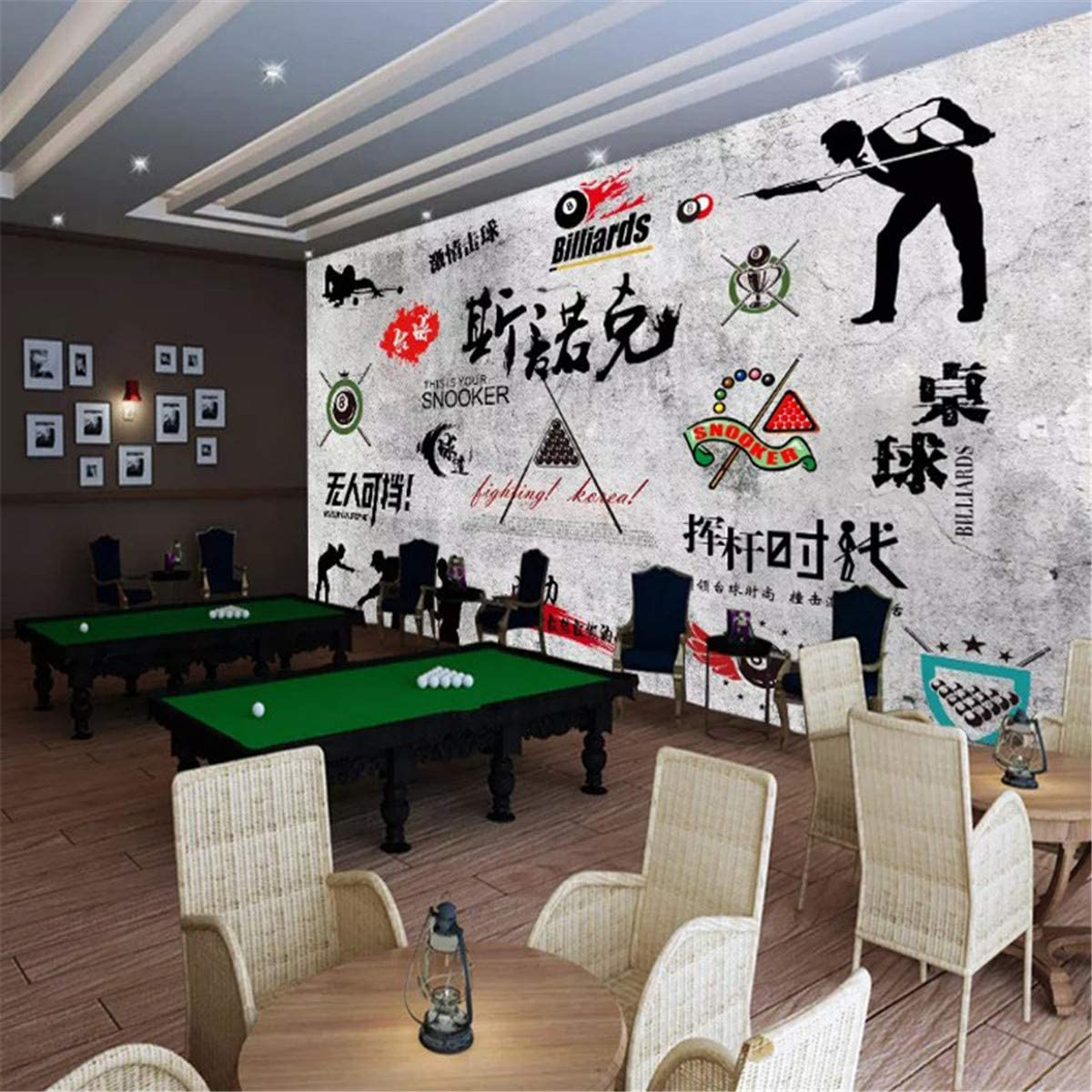 FOREVERFL Fondo de Pantalla 3D Papel Tapiz de Sala de Billar KTV Bar Juego Wallpaper Sala de Juegos, 400 * 280 cm: Amazon.es: Hogar