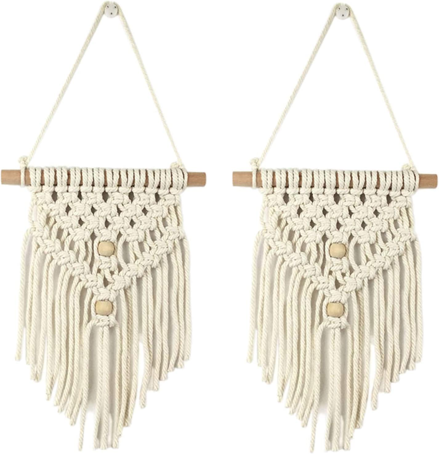 Saien Macrame Wall Hanging Tapestry 2Packs Art Woven Wall Decor with Wooden Beads Boho Chic Home Decoration for Apartment Bedroom Living Room(#4)