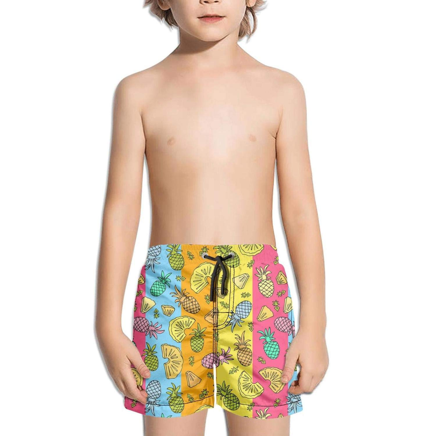 NAIT.2 Shorts Swim for Kid Quick Dry Solid Board Fully Lined Swim Mesh Lining Vacation Colorful Pineapple Fruit Stipes
