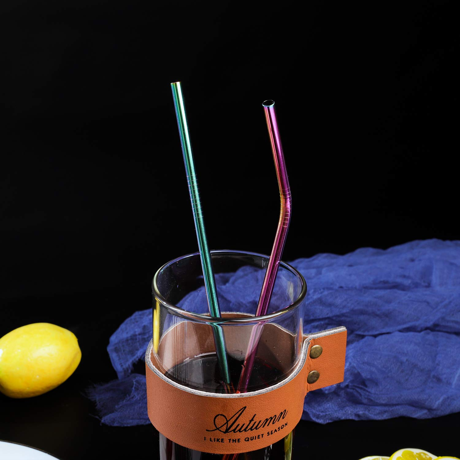 VEHHE Metal Straws Stainless Steel Straws 8 Set Reusable Drinking Rainbow Straws with Cleaning Brush for 20 OZ Tumblers(4 Straight + 4 Bent + 2 Brush) by VEHHE (Image #7)