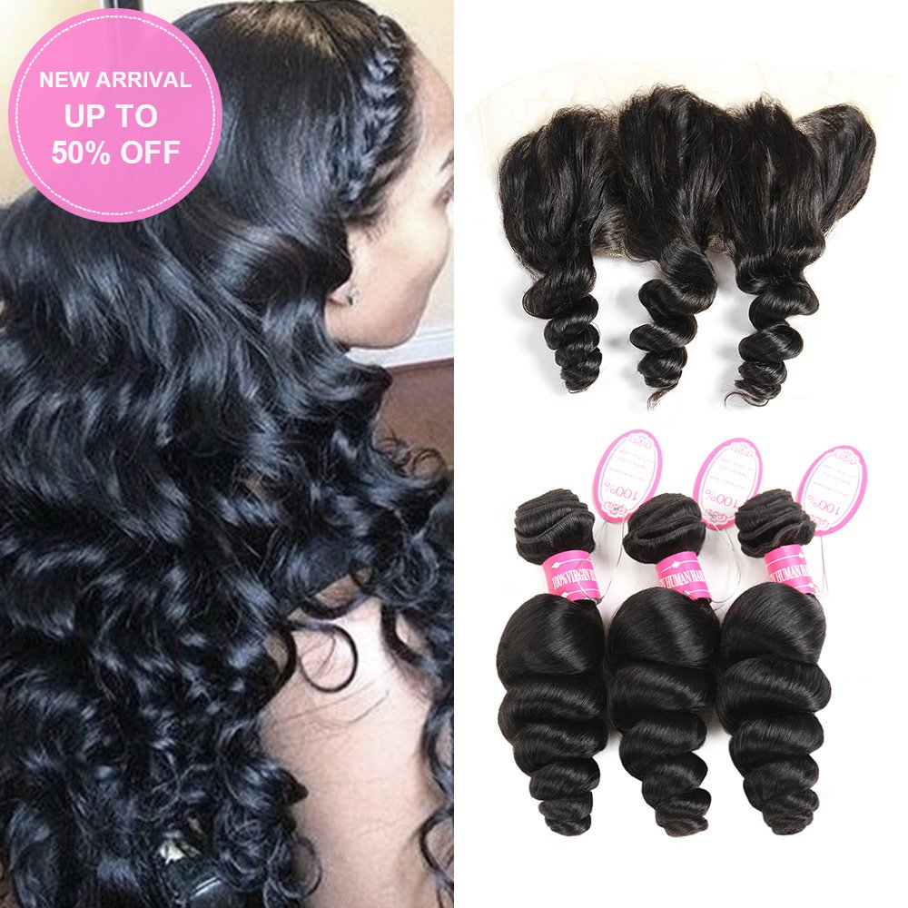 YHL Hair Peruvian Loose Wave 3 Bundles With Lace Frontal 13x4 Ear To Ear Free Part Virgin Human Hair Extensions Natural Color (16 18 20 with 14)