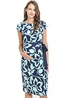 LaClef Women's Adjustable Side Tie Knee Length Printed Short Sleeve Maternity Dress