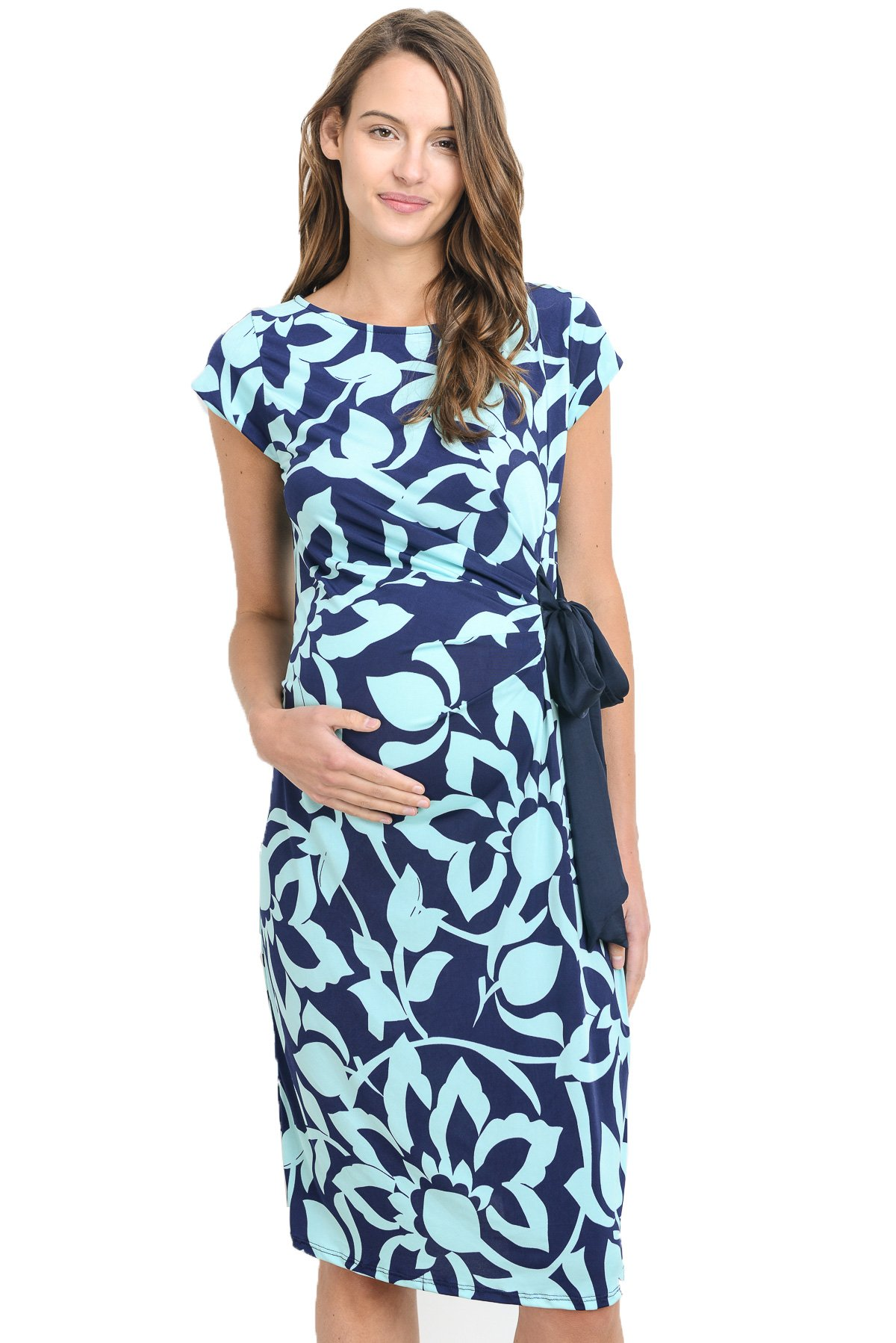 LaClef Women's Adjustable Side Tie Knee Length Printed Short Sleeve Maternity Dress (X-Large, Navy/Mint)